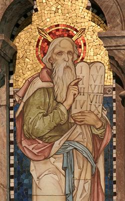Moses, mosaic from the Church of St Oudoceus, Llandogo, Wales, 1889